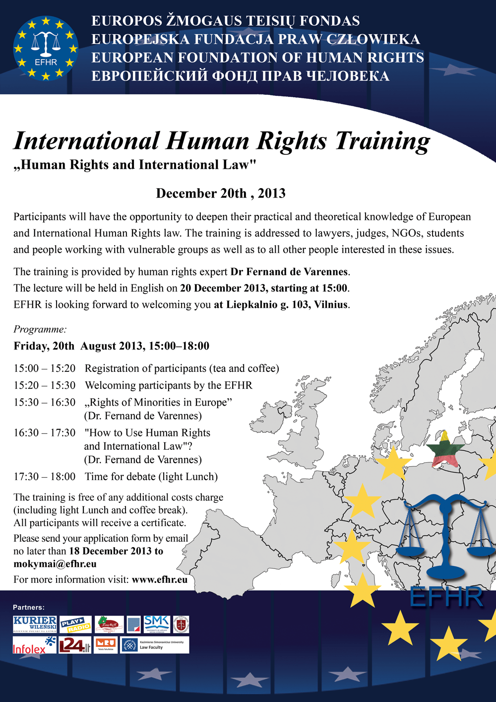 EFHR invites for a free training!