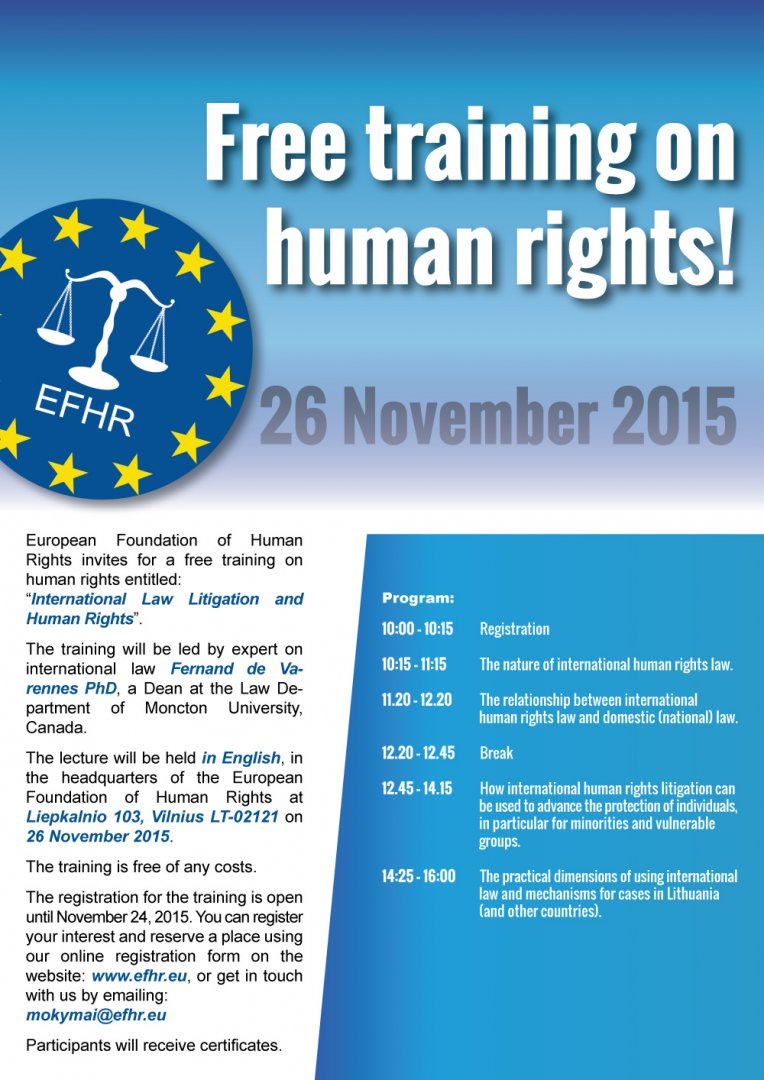 """EFHR invites you to attend our """"International Law Litigation and Human Rights"""" Training Course"""