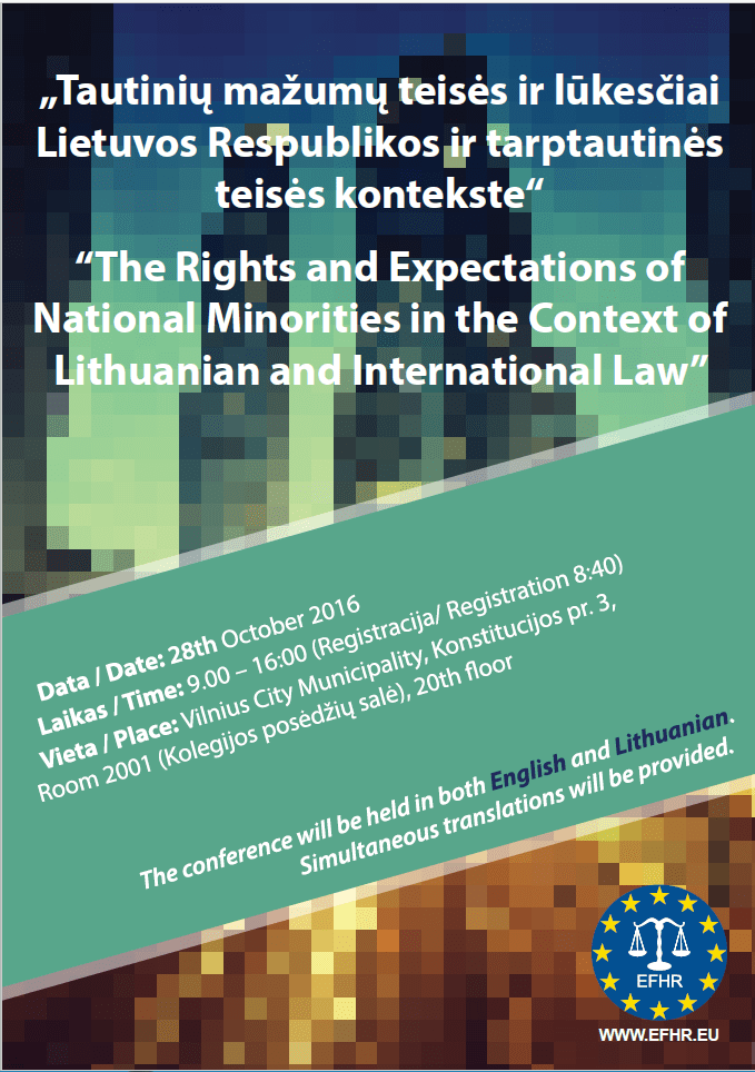 EFHR invites to the Conference on the Overview of National Minorities Rights in Lithuania
